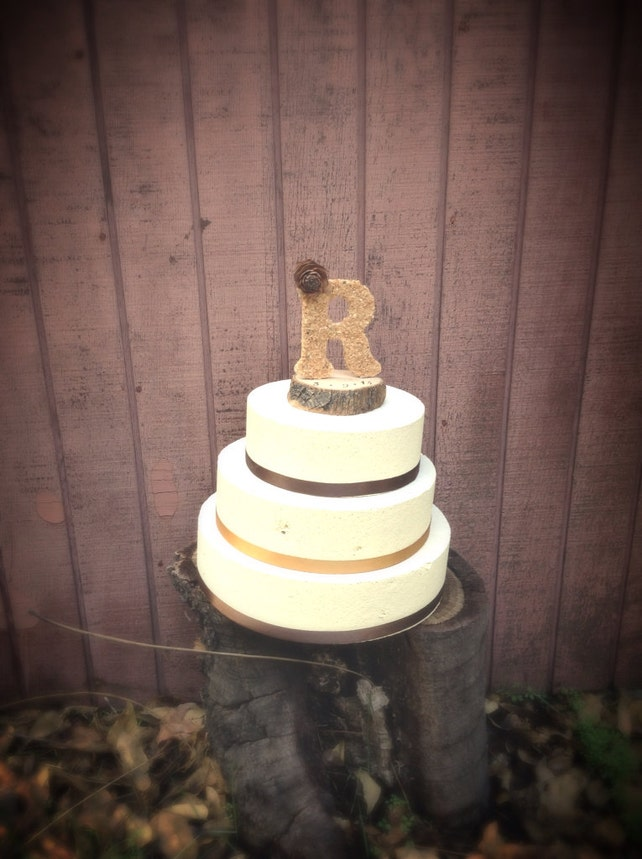 Wooden Letter Wedding Cake Topper Rustic Country Weddings