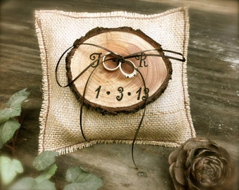 Rustic Ring Bearer Pillow Wedding Ring Bearer Pillow Burlap Ring Bearer Personalized Wooden Ring Bearer