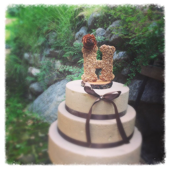 Monogram Wedding Cake Topper Rustic Wedding Cake Topper Wooden