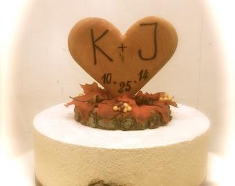 Fall Wedding Cake Topper Rustic Wooden Heart