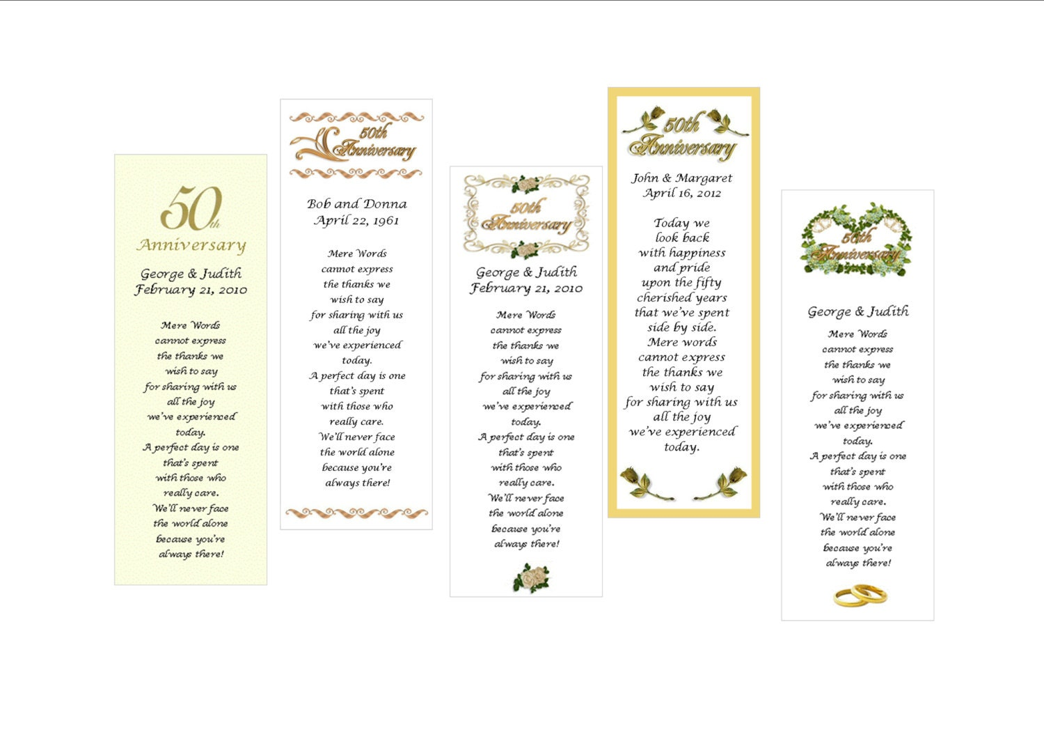 Personalized 50th anniversary Bookmark Favor set of 10