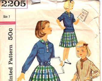 Simplicity 2205 Girl's Middy Blouse or Polo Blouse and Pleated Skirt Knee Length Skirt Sewing Pattern Size 7 Vintage 1950's