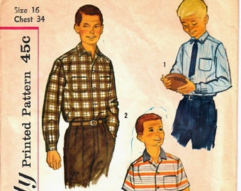 Simplicity 2212 Teen Boy's Dress Shirt or Casual Button-Down Shirt Sewing Pattern Size 16 Vintage 1950's