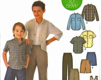 Simplicity 5648 Easy Sew Boy's Fly Front Pants, Knee Length Shorts, Button-Front Shirt, Lined Vest Sewing Pattern Size 7-8-10-12-14 UNCUT