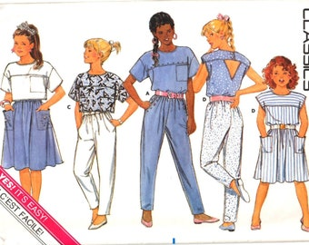 Butterick 5617 Easy to Make Girl's Pullover Top, Gathered A-Line Skirt, Tapered Pants Sewing Pattern Size 8 Vintage 1980's UNCUT