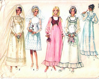 Simplicity 9608 Woman's Retro Wedding Dress, Bridal Dress, Bridesmaid Dress and Bolero Sewing Pattern Size 12 Vintage 1970's