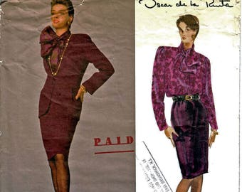 Vogue 2539 American Designer Oscar De La Renta Lined Jacket, Straight Skirt, Blouse Sewing Pattern Size 8, 10, 12 Vintage 1990's UNCUT