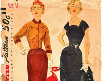 Simplicity 4445 Woman's Wiggle Dress or Pencil Dress and Waist-Length 3/4 Length Sleeve Jacket Sewing Pattern Size 12  Vintage 1950s