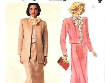 McCall's 3244 Woman's Lined Open Front Jacket, Hip Length Jacket, Bolero Jacket, Straight Skirt Sewing Pattern Size 12 Vintage 1980's UNCUT