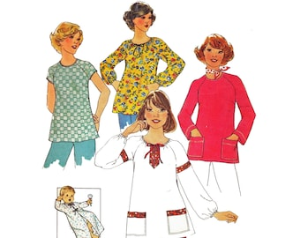 Simplicity 7944 Woman's Maternity Boho Peasant Bouse or Basic Rounded Neck Blouse Shirt and Infant Kimono Sewing Pattern Size 10-12 1970's