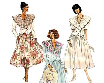 """McCall's 6384 Woman Two-Piece Dress-Cape Collar Top, Full Skirt Vintage Sewing Pattern 1990s Size (4-8) (8-10) (10-14) Bust 29.5-36"""" UNCUT"""