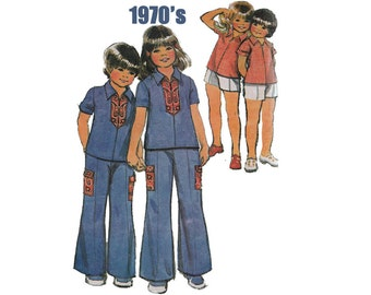 McCall's 3613 Girl's Shirt, Wide-Legged Pants, Shorts Size 6X Vintage 1970's Sewing Pattern