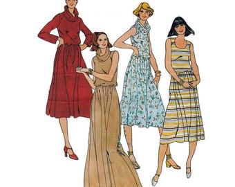 "Butterick 6136 Woman's Cowl Neck Dress Knee Length or Floor Length Dress Size 6  Bust 30 1/2"" Vintage 1980's Sewing Pattern UNCUT"