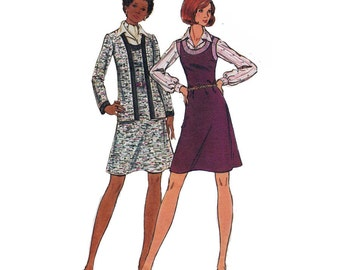 Butterick 3196 Woman's Knit A-Line Sleeveless Jumper & Open Long Sleeve Cardigan Jacket Sz 12 Vintage 1970's Sewing Pattern