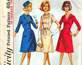 Simplicity 5655 Woman's Jackie O' Style Fitted Bodice Dress with A-Line Skirt in Half-Size 20 1/2 Vintage 1960's Sewing Pattern