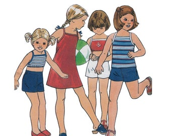 Butterick 5473 Girl's Summer Sundress, Top, Shorts Size 3-4  Vintage 1970's Sewing Pattern