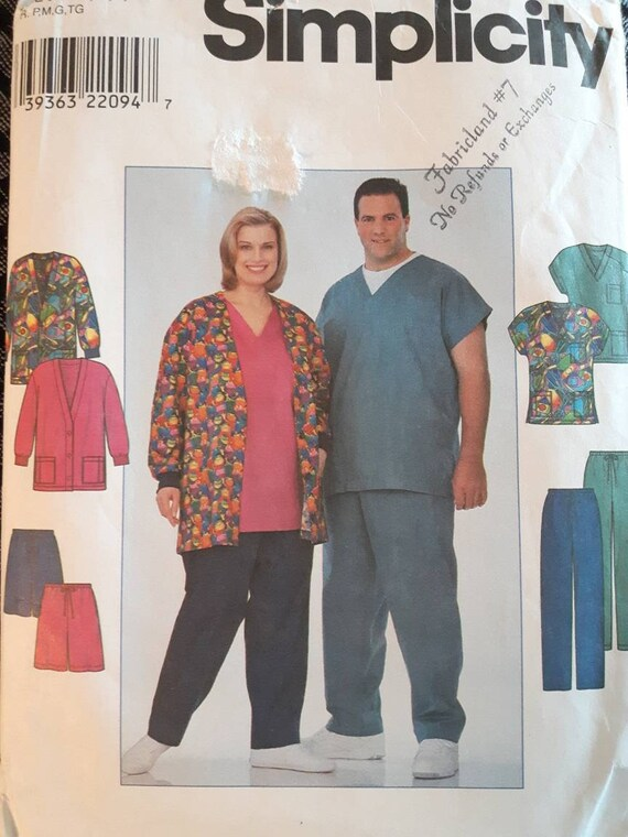 Uni sex scrub sewing patterns