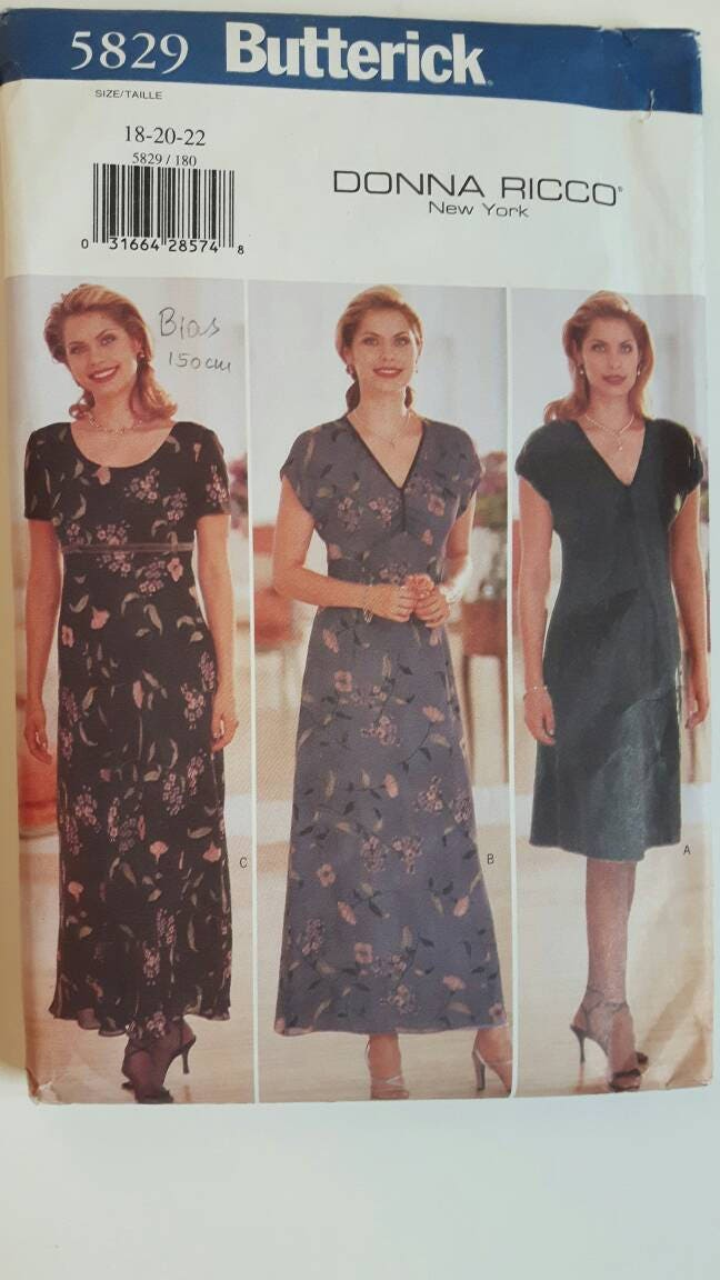 Butterick 5829 Donna Ricco Plus Size Dress Sewing Pattern Etsy
