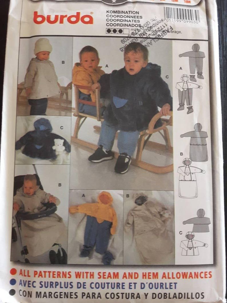 8ccaaae9e3f3 Burda 9903 Baby and Toddler Snowsuit and Outdoor Clothing