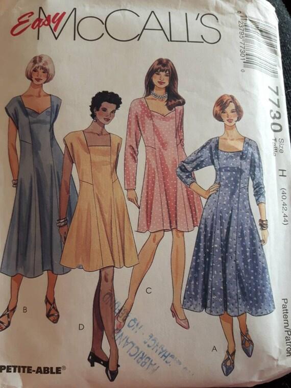 Mccalls 7730 Womens Plus Size Dress Pattern Etsy