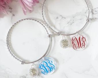 Monogram Bracelet - Silver Charm Bracelet - Graduation Gift - Monogram Bridesmaid Gift - Custom Christmas Gift - Personalized  Birthday Gift