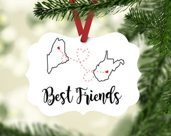 best friend holiday gift christmas gift for friend custom ornament distance relationship ornament state to state christmas ornament