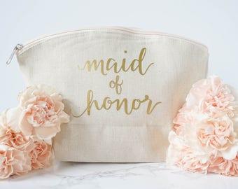 Cosmetics Bag - Maid of Honor Bag - Personalized Makeup Bag -  Bridesmaids Gifts - Bridal Party Gift - Matron of Honor Gift - Beach Wedding
