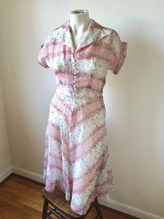 30s/40s Floral Sheer Seersucker Dress - As Is