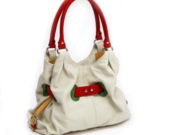 Reserved for Esther. - Nude Leather Handbag Bright Colorful Satchel Purse Bag Beige Handbag Beige Tote Bag