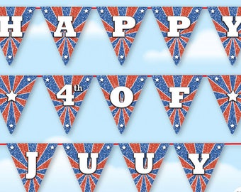 happy 4th of july banner printable july 4th garland patriotic banner july 4th photo prop american banner independence day garland decor