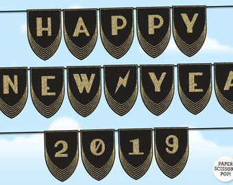 happy new year 2019 banner great gatsby 2019 new year garland black and gold glitter 2019 new years eve party decor new year photo prop