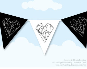 geometric hearts valentines wedding decor bunting banner love hearts banner black and white party black heart happy valentines day