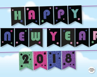 happy new year banner 2018 printable new year garland glitter photo prop banner new years eve 2018 party decor christmas garland diy