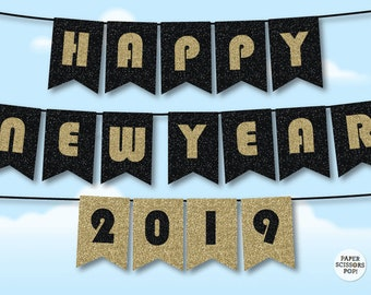 gatsby happy new year 2019 gatsby banner new years eve banner great gastby glitter banner happy new year 2019 black and gold garland