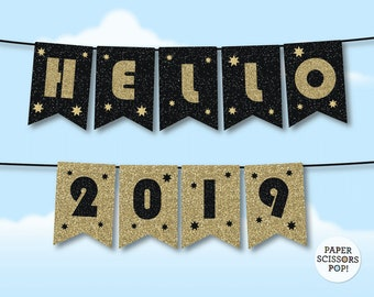 hello 2018 banner black and gold new year garland gatsby new year photo prop happy new year 2018 new years eve banner printable bunting