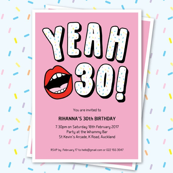 30th Birthday Invitation Sassy Yeah 30 Lips Editable Funny Text Retro Party Invite Milestone Kitch