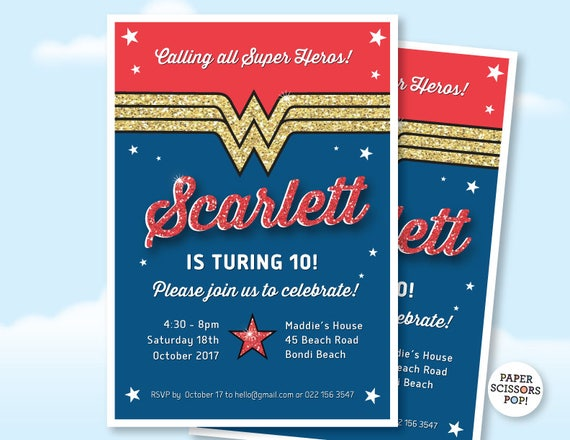 wonder woman birthday invitation custom wonder woman invite