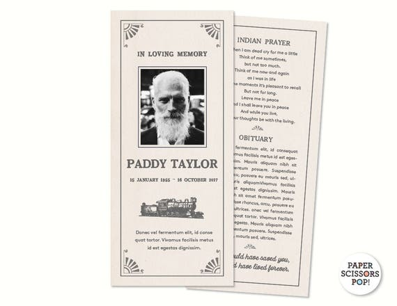 masculine funeral card personalized memorial order of service mens