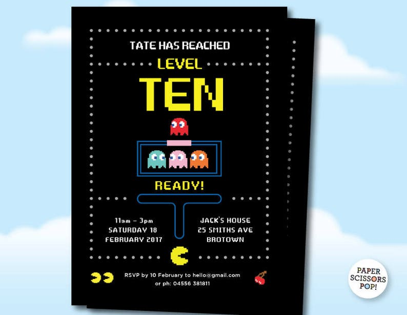 Pacman Birthday Gaming Party Invite Pac Man Party Invitation Etsy