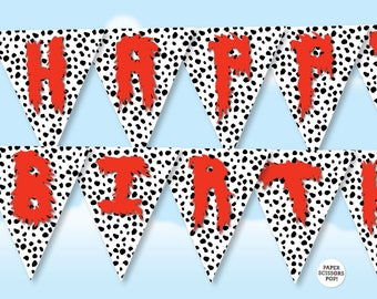 Dalmatian Party Puppy Party Decor, Photo Booth Black and White Dalmatian Pattern Party Decor, 101 Dalmatians Party Dalmatian Pattern Print