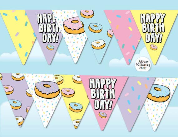 graphic relating to Dunkin Donuts Printable Application identify Donut Bash Banner, Doughnut Image Prop Birthady Bunting