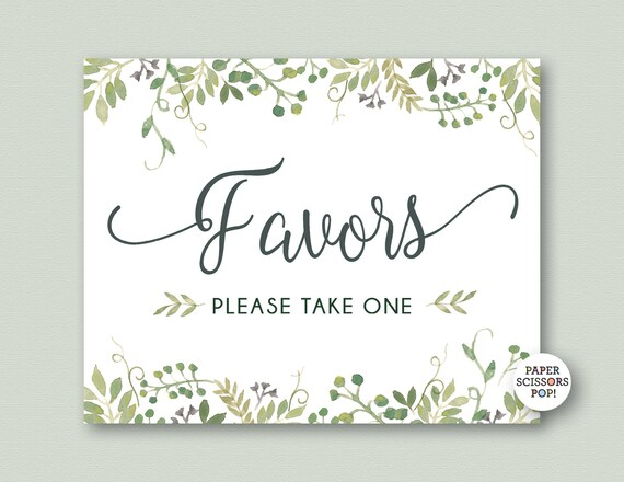 photo about Please Take One Sign Printable named Wedding ceremony Favors Signal, Favors Be sure to Consider Just one Indicator, Printable
