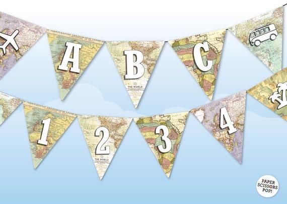 Alphabet template bunting vintage maps banner nautical etsy image 0 maxwellsz