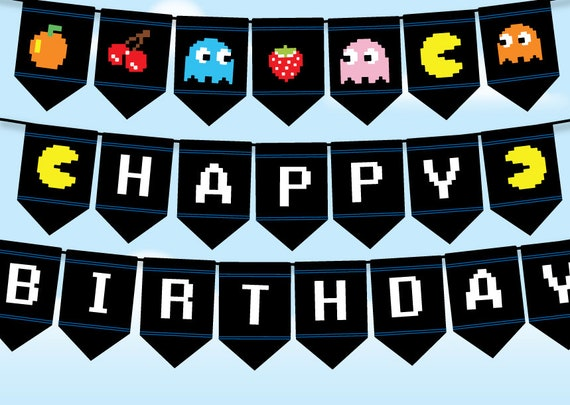 photo relating to Pac Man Printable identified as Retro Arcade Birthday Banner, Fast Obtain, Pac-gentleman Content Birthday Garland, Printable Pac-male Bash Decor, Arcade Bash Decor