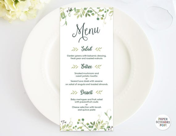 Wedding Menu Template Leafy Menu Template Menu Card Green Dinner