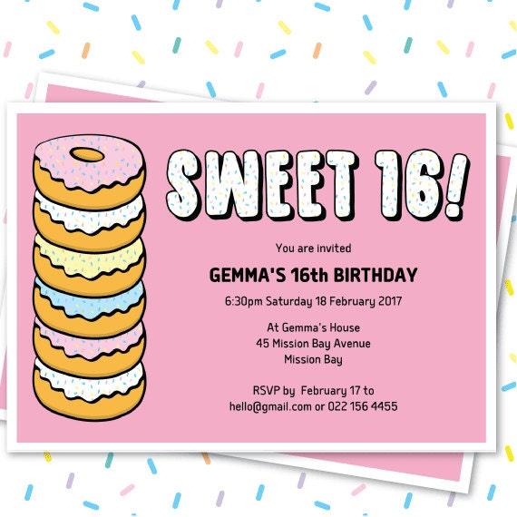 Donut Sweet 16 Invitation Template Doughnut Party Editable Invite 16th Birthday Homer Simpson Decor