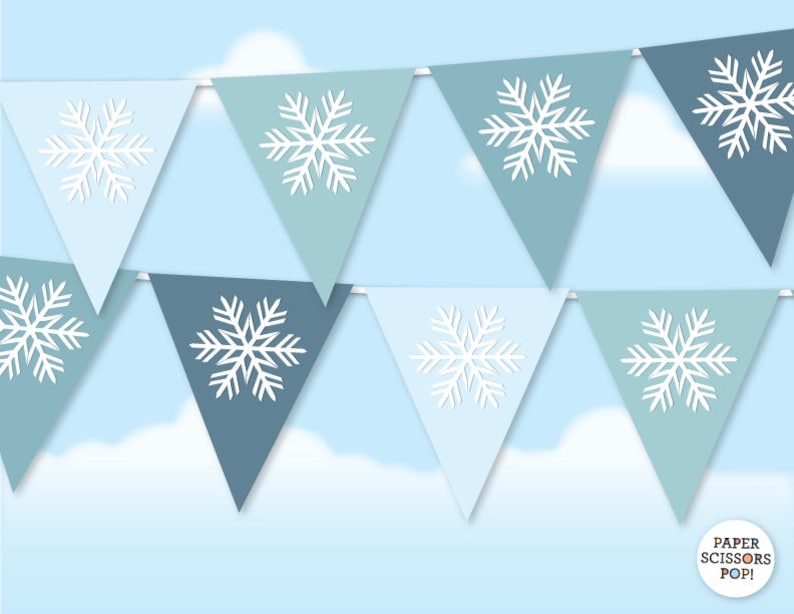 Christmas Snowflake Garland Winter Wedding Decor Printable Christmas Garland Frozen Party Decor White Wedding Blue Christmas Decor