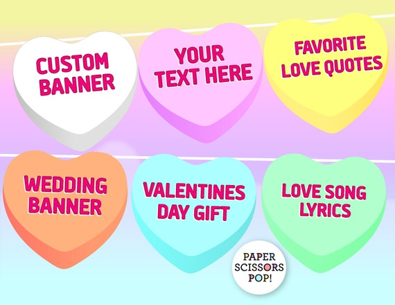 Candy Hearts Printable Valentines Banner Your Text Here Etsy Delectable Candy Quotes For Valentines Day