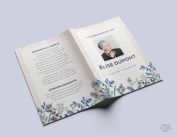 funeral program blue flowers funeral program botanical memorial