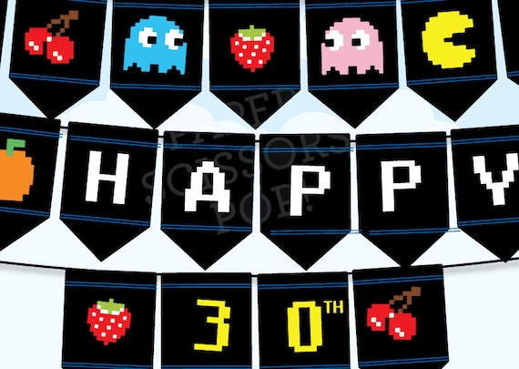 Retro Party Decor Pacman Game 80's Gaming Party Printable Birthday